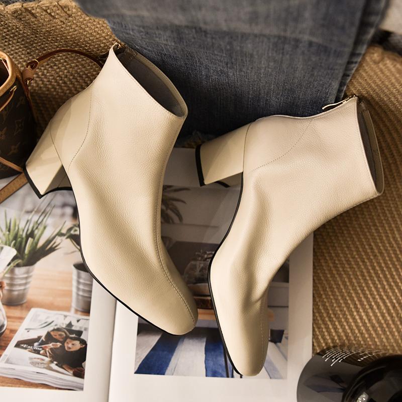 2018秋冬女鞋新款裸靴方头女靴粗跟靴子女及踝靴真皮白色高跟短靴