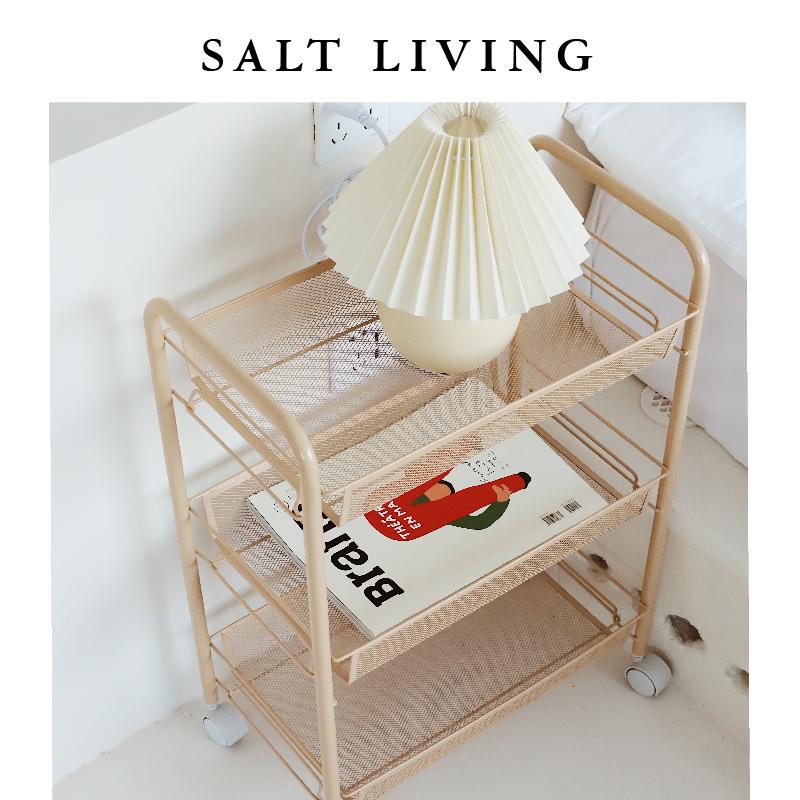 SaltLiving 家用收纳可移动推车客厅置物架厨房蔬菜篮黄色推荐