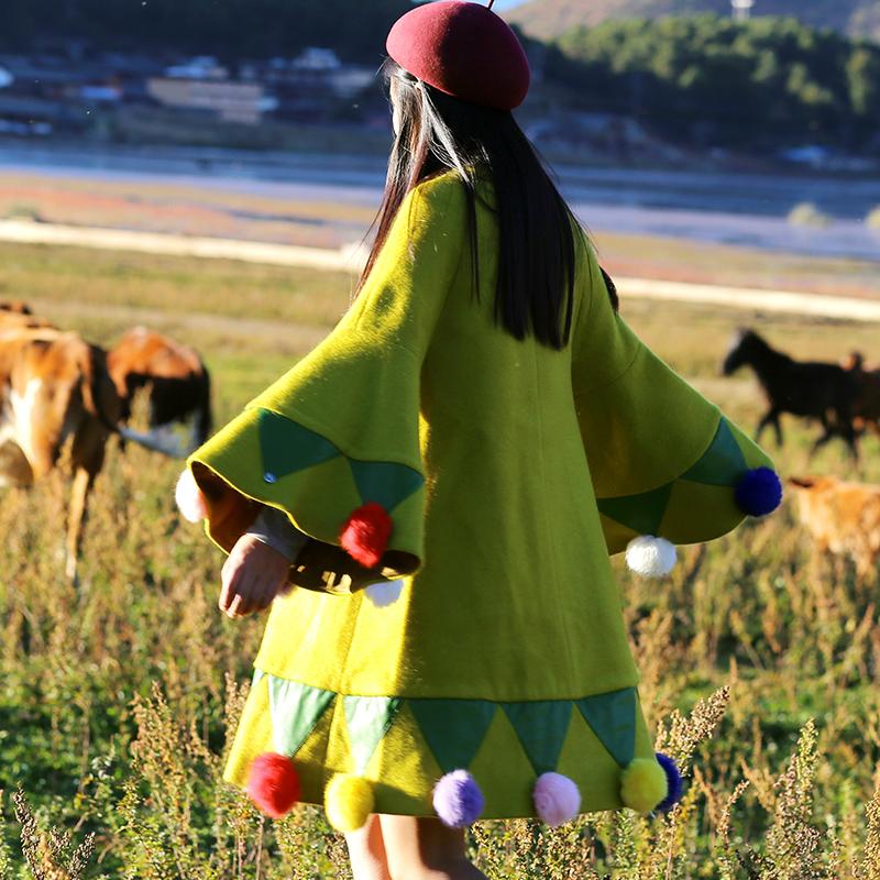 [Giải phóng mặt bằng] Mai Xu ban đầu cầu vồng chú hề mùa thu và mùa đông áo khoác len mới và áo khoác nữ dài giữa dày - Áo Hàn Quốc