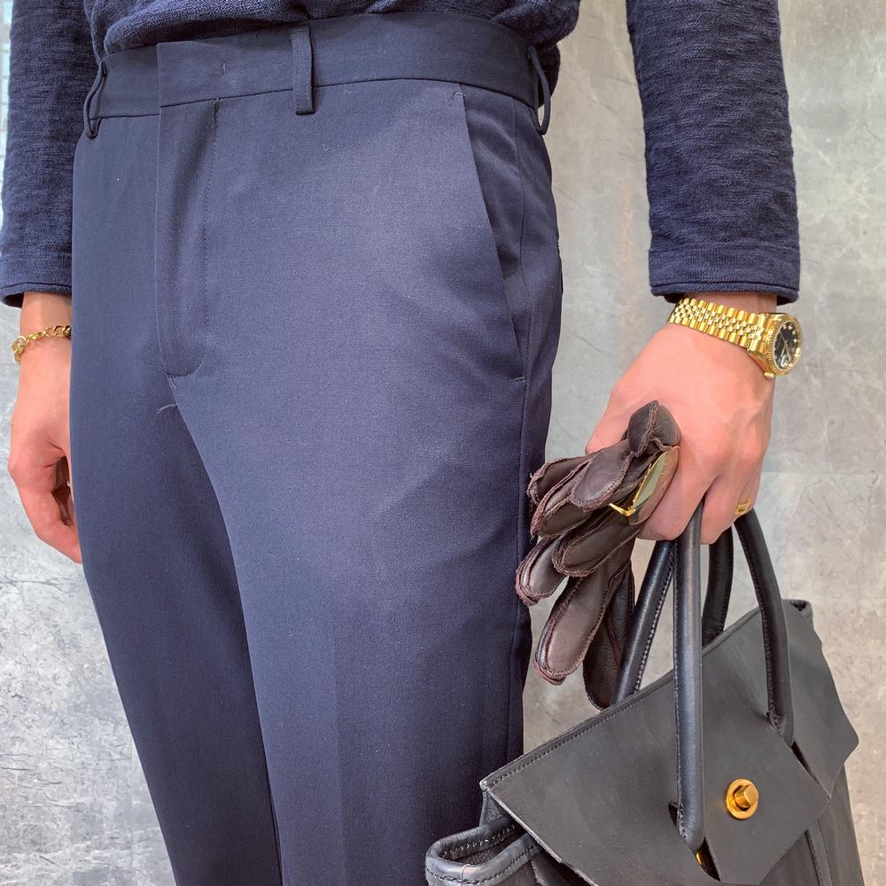 Mùa thu và mùa đông mới Hàn Quốc màu rắn hoang dã quần giản dị chân quần nam kinh doanh Anh quần dài căng thẳng nam - Quần