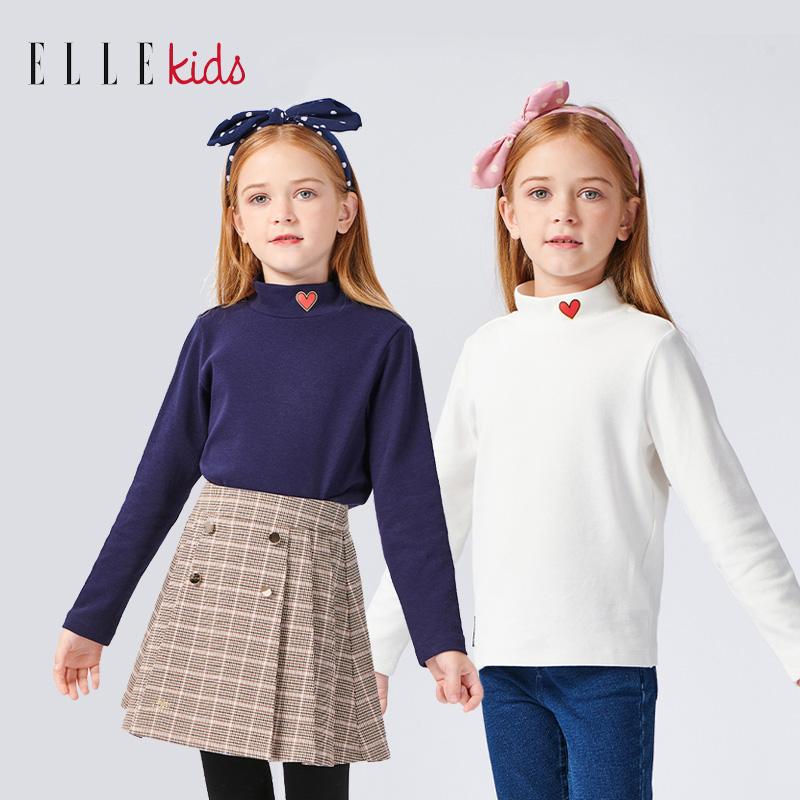 ELLE Kids童装女童长袖T恤半高领打底衫2021秋装新款中大儿童上衣