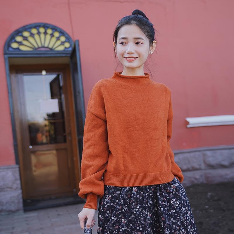 芒风日复古学院套头系短款宽松如水上衣原创橙红色文艺毛衣女