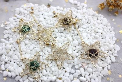 原创设计开发 欧美风饰品 五角星缠铜丝宝石耳钉 日韩风螺丝耳夹