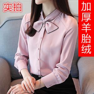 63850#加绒加厚2018秋冬新款韩版雪纺衫保暖上衣女长袖衬衫雪纺/蕾丝衫