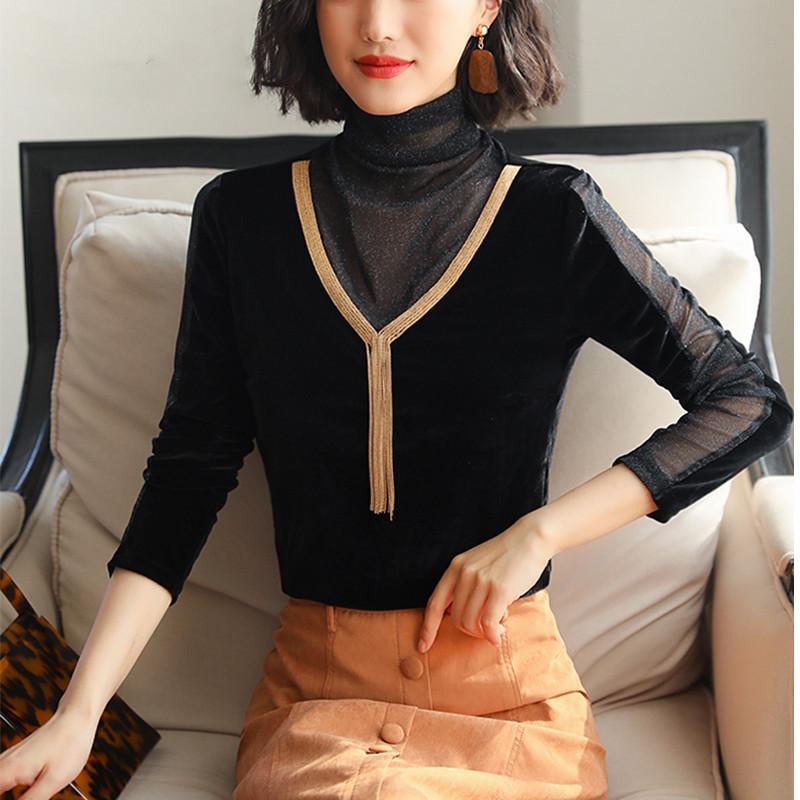 新款秋装镂空蕾丝雪纺衫女 网纱拼接长袖大码加绒打底衫上衣