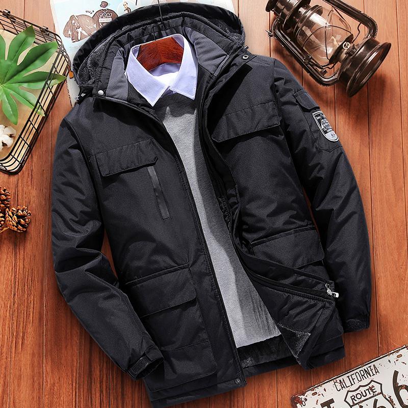 棉衣男士秋冬季加绒加厚外套中年爸爸装棉袄中老年冲锋衣羽绒棉服