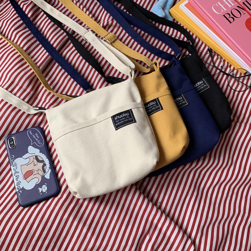 斜挎包女新款小包包可爱少女帆布学生日系文艺韩国ins单肩小方包