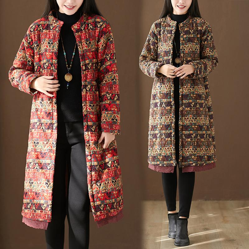 冬季棉麻风大码棉服大衣加绒复古外套民族印花加厚中长款棉衣女装