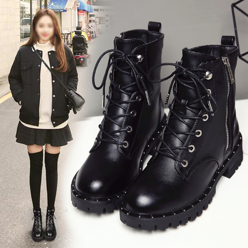 Martin boots female British wind 2018 autumn and winter new thick with chic boots plus velvet students Korean version of the wild motorcycle boots