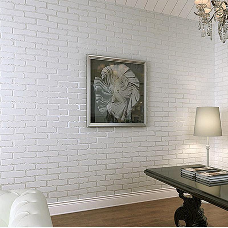White brick pattern brick brick wallpaper bedroom 3d stereo hair salon  barber clothing store bar culture stone wallpaper