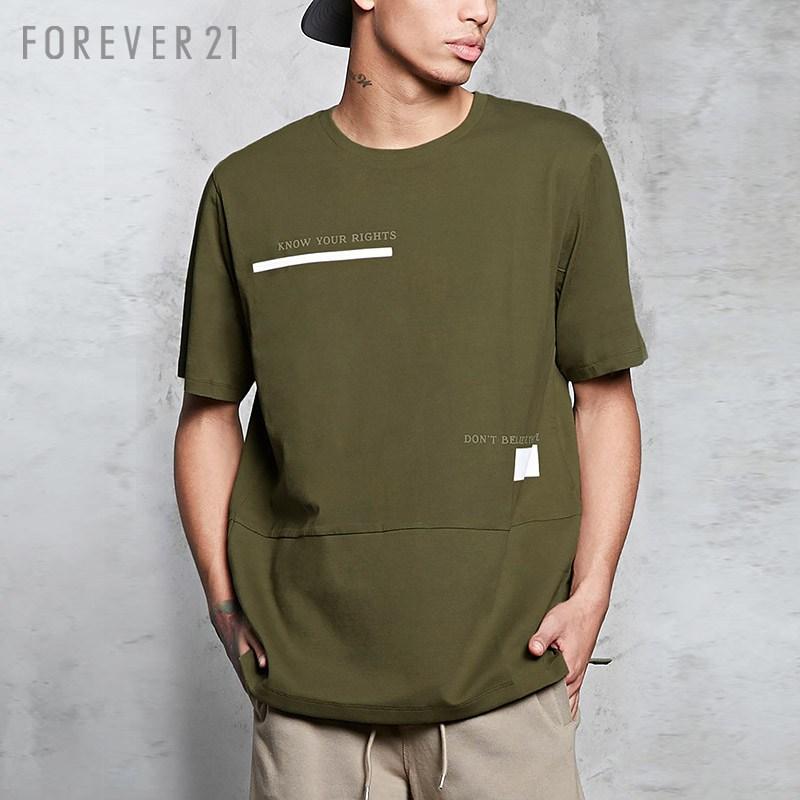 Thư của nam giới tương phản Loose ngắn tay áo T-Shirt Forever21
