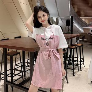 視頻+實拍9273#2019夏裝新款女裝韓版寬松收腰小個子粉...