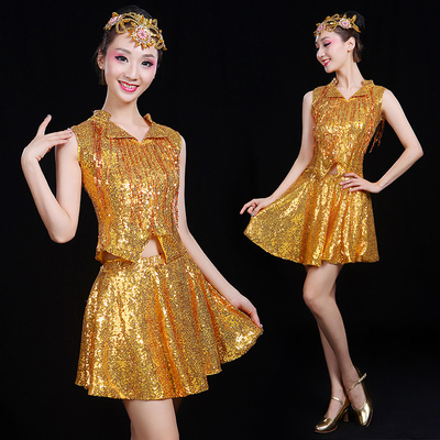 Modern Dance Costume Adult Jazz Dance Costume Square Suit Latin Stage Fashion Sequins Costume