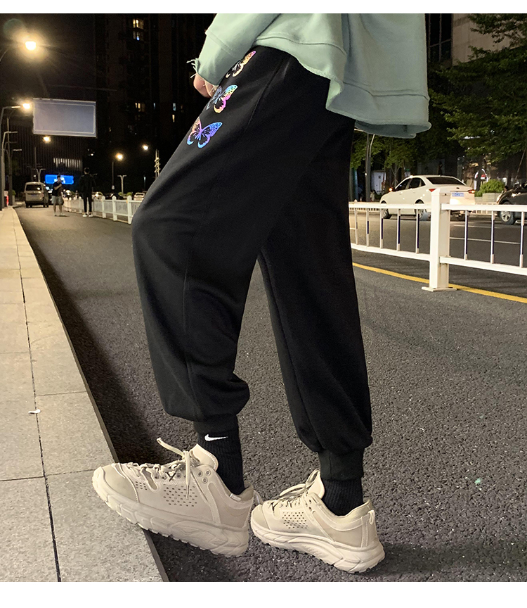 @港风夜景 蝴蝶彩光运动裤男长裤反光休闲裤九分卫裤K202-P40控58