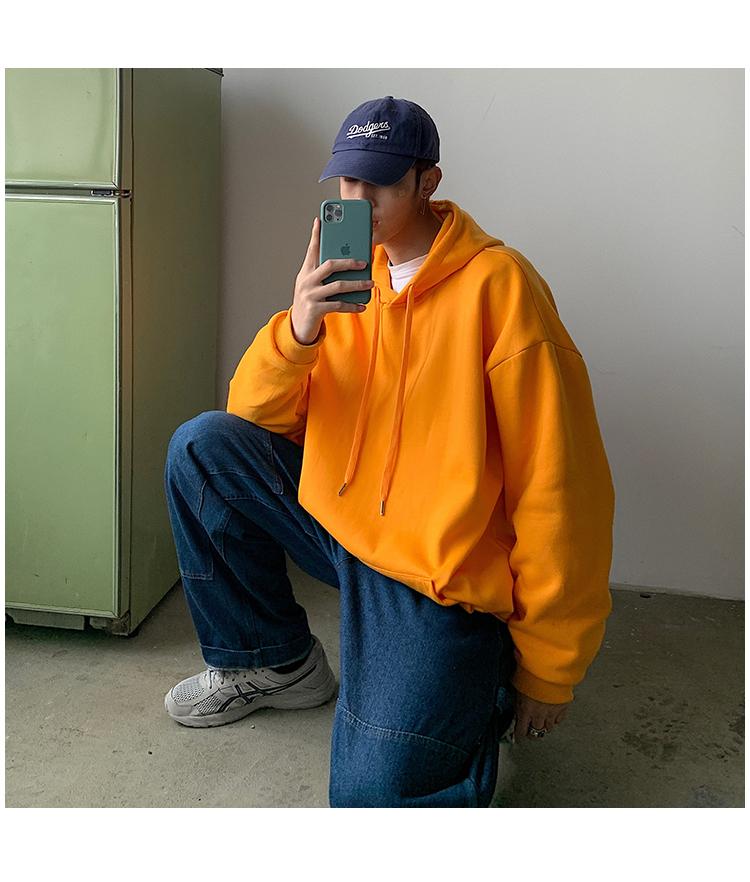 @港风 2020春季新款纯色卫衣连帽外套8色宽松衣服CW01-P35