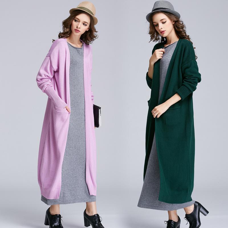 秋冬宽松慵懒大毛衣外套时尚百搭过膝针织衫女开衫超长款加厚粗针