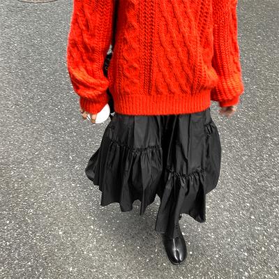 六金家 不规则褶皱半身裙秋冬宽松百搭高腰显瘦中长款a字裙女