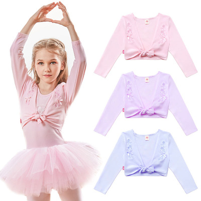 Girls long-sleeved ballet coat exercise clothes long-sleeved jacket shawl cotton embroidery exercise clothes
