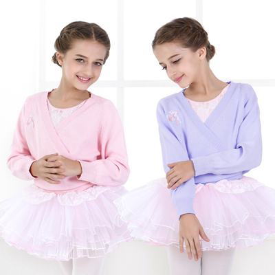 Children's long-sleeved knit sweater dance dress jacket long-sleeved cardigan sweater coat girls dance practice clothes
