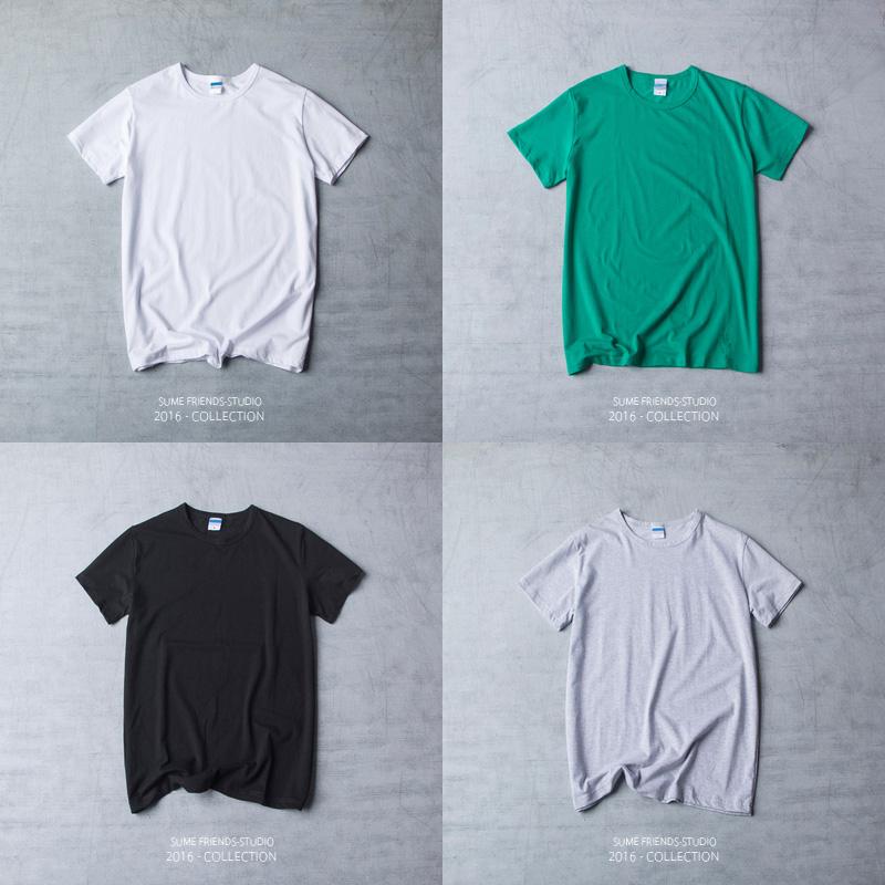 夏季百搭基本男士短袖T恤 日系青年圆领修身半袖体恤纯色打底衫潮