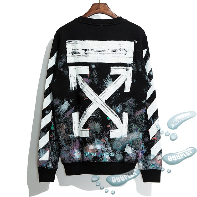 7adc64cc Genuine OFF WHITE 17FW star rendering jacket fireworks arrow men and women  OW round neck long-sleeved sweater