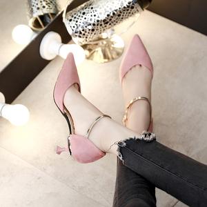 中跟单鞋 黑色5cm职业工作鞋猫跟中空细跟尖头一字扣百搭高跟鞋女