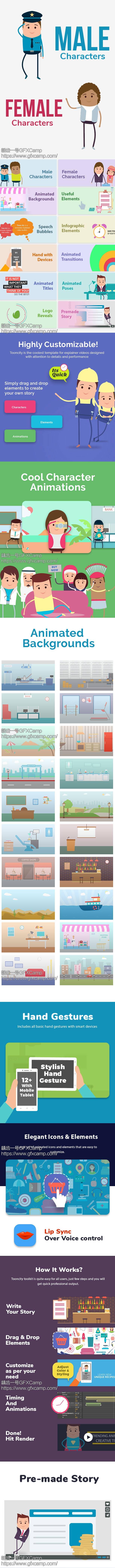 AE模板-二维城市卡通人物角色场景MG动画片头