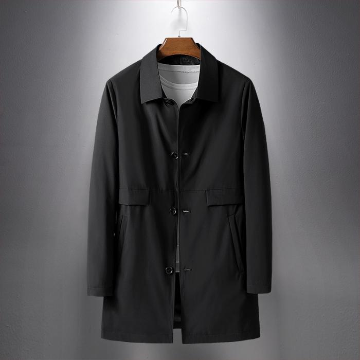 秋季新款外套男装风衣男韩版休闲潮流修身中长款黑色大衣