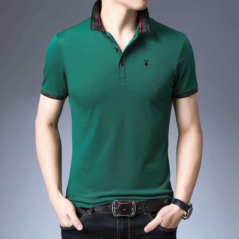 高品质冰丝棉短袖T恤男士夏季纯棉修身潮流翻领休闲Polo衫