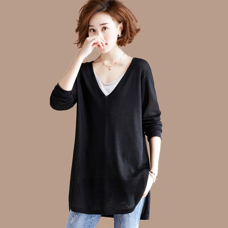 衣品乐原创大码假两件针织衫T恤女中长款韩版宽松上衣长袖秋装
