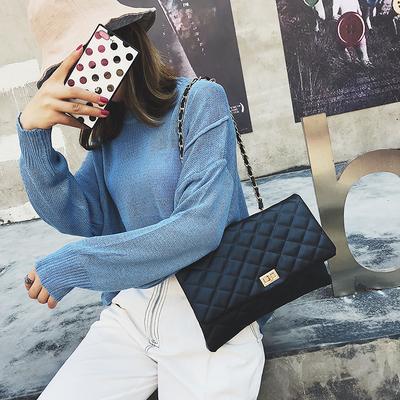 时尚大包包女2019新款潮韩版百搭斜挎包菱格链条单肩手拿大信封包