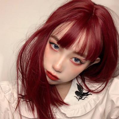 taobao agent Wig female daily net red lolita red long straight hair clavicle hair handsome Harajuku soft girl style natural full headgear