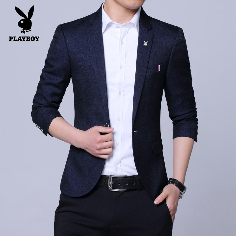 花花公子春季单件小西装男西服修身潮流韩版青年单扣v单件外套上衣