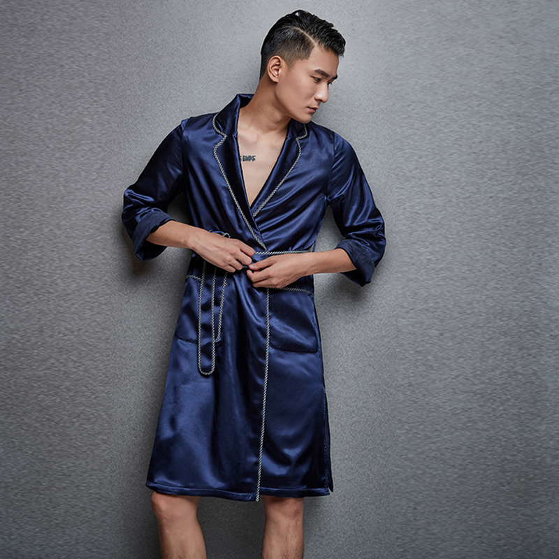 773fc709a132 NT autumn and winter men s fashion silk pajamas nightgown thick silver fox  cashmere warm long pajamas long nightgown men