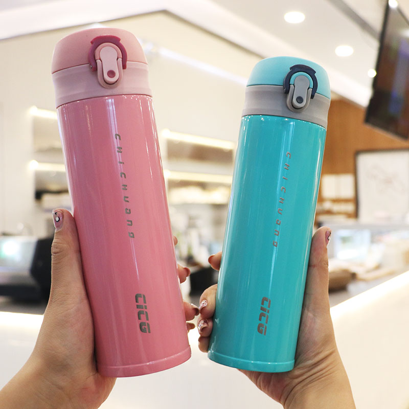 Korean version of the personality bounce cover insulation cup car portable stainless steel vacuum water cup tide bachelor student custom cup