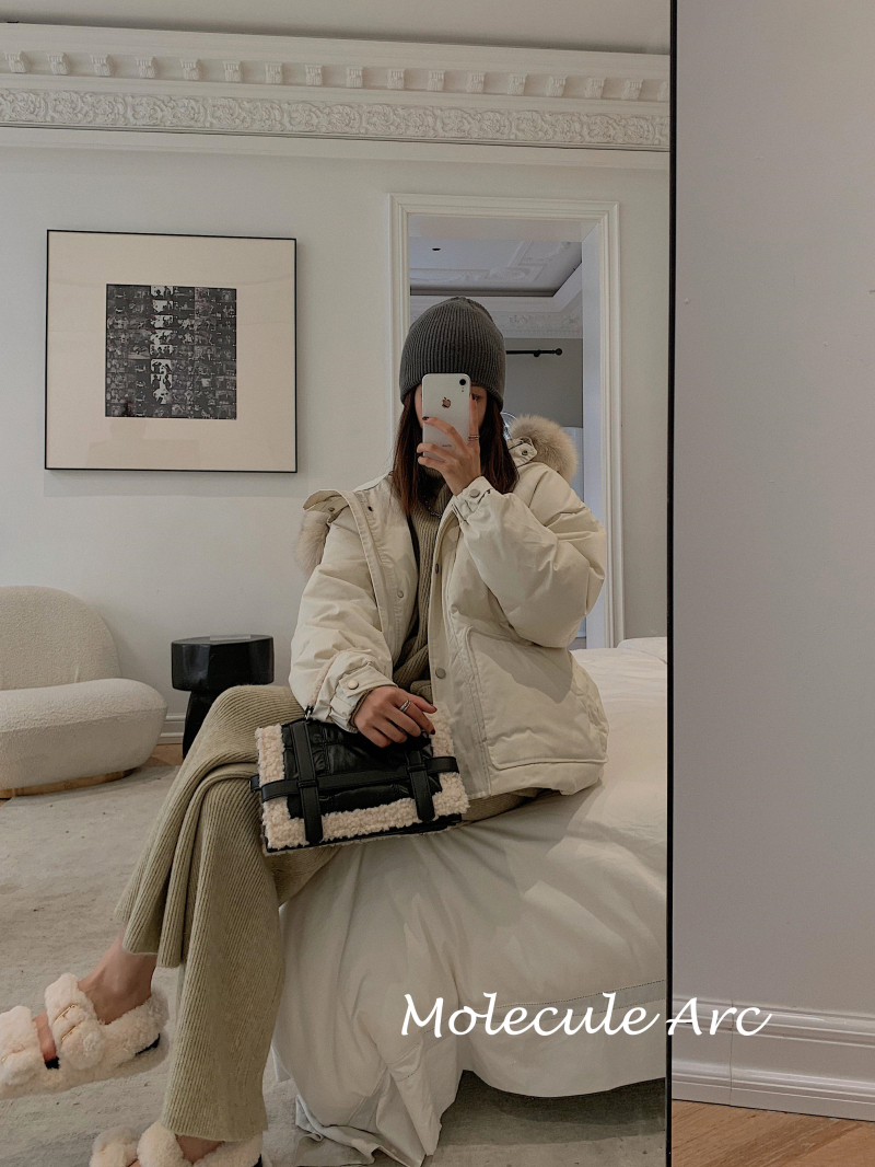 Corle韓國女裝Molecule Arc 官方授權 狐貍毛領短款羽絨服女冬新款收腰時尚外套