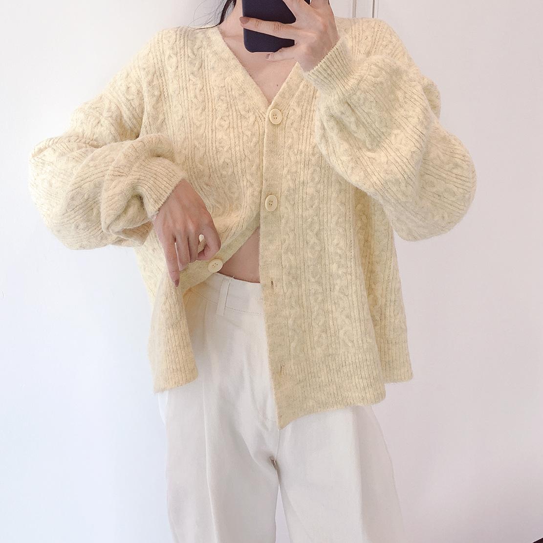 Sev7en自制质感开衫a质感秋冬感鹅黄色少女羊绒V领新品毛衣