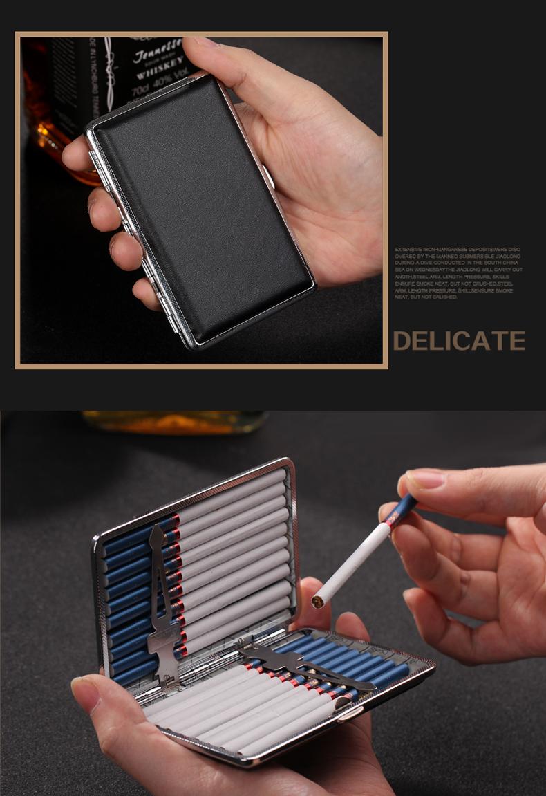 双枪烟盒细烟加长支装超薄可携式男女不锈钢香烟盒子金属个性烟夹详细照片