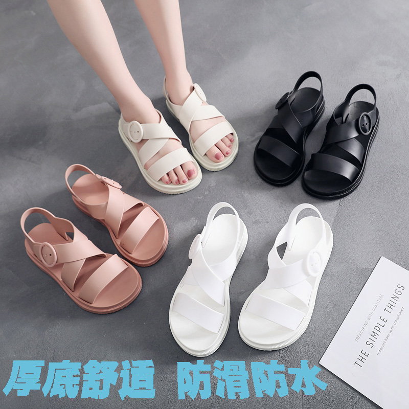 d85730a962117c ... Plastic sandals female summer thick bottom non-slip waterproof plastic  shoes flat wild Korean student ...