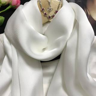 Silk scarf summer thin women's wild collar neck protection pearl white silk scarf mulberry silk beach sunscreen shawl