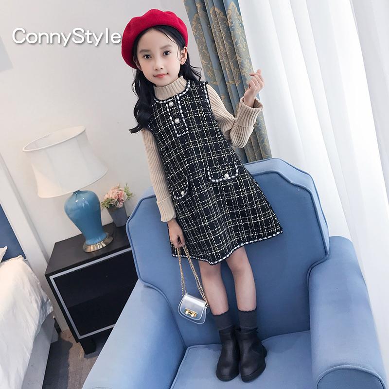 女童背心裙冬装洋气裙子小香风2019新款童装女大童韩版儿童连衣裙