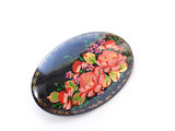 Aesthetic secret garden Russian master hand-painted oil painting birch lacquer brooch
