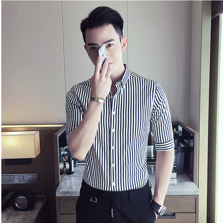 82562a3787e3 Tide men vertical stripes short-sleeved shirt backing business seven sleeves  shirt Korean slim sleeve thin shirt stretch