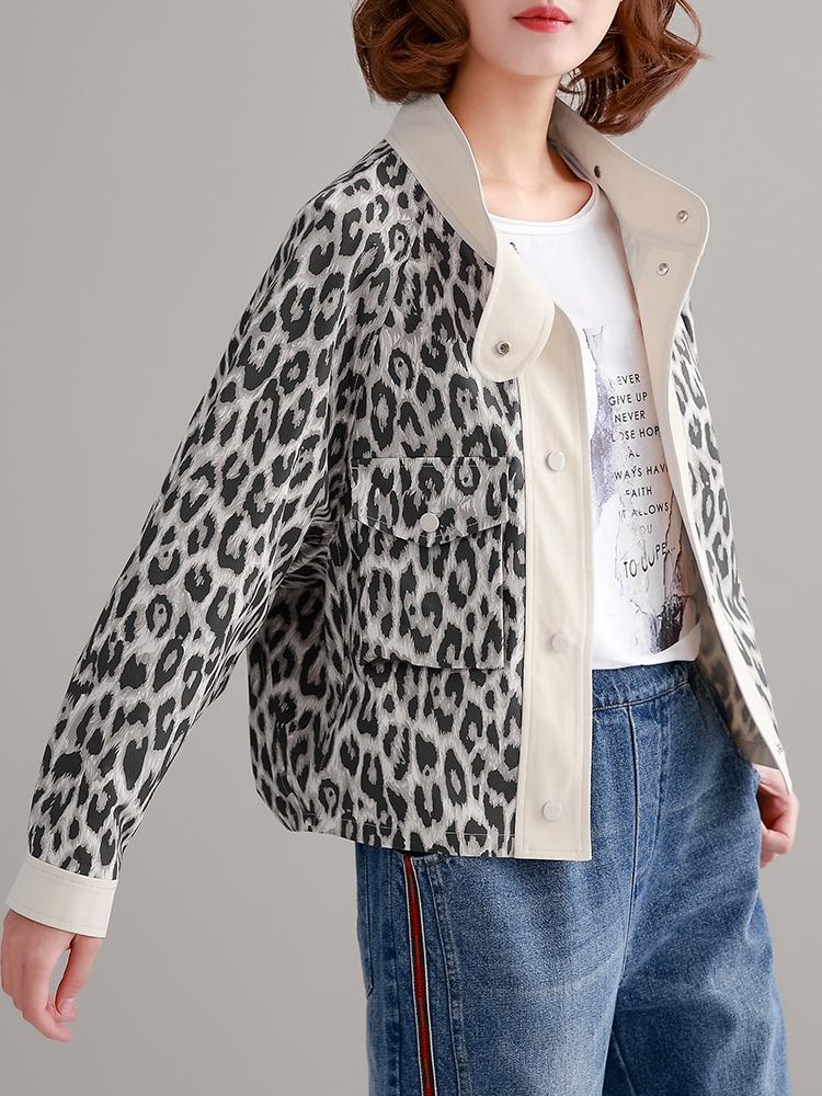 时尚短外套立领2019长袖新款女装复古豹纹宽松上衣春装百搭夹克衫