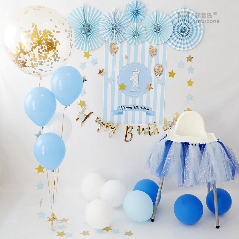 Male And Female Baby 1 Year Old One Pull Flower Party Decoration Set Balloon Dress