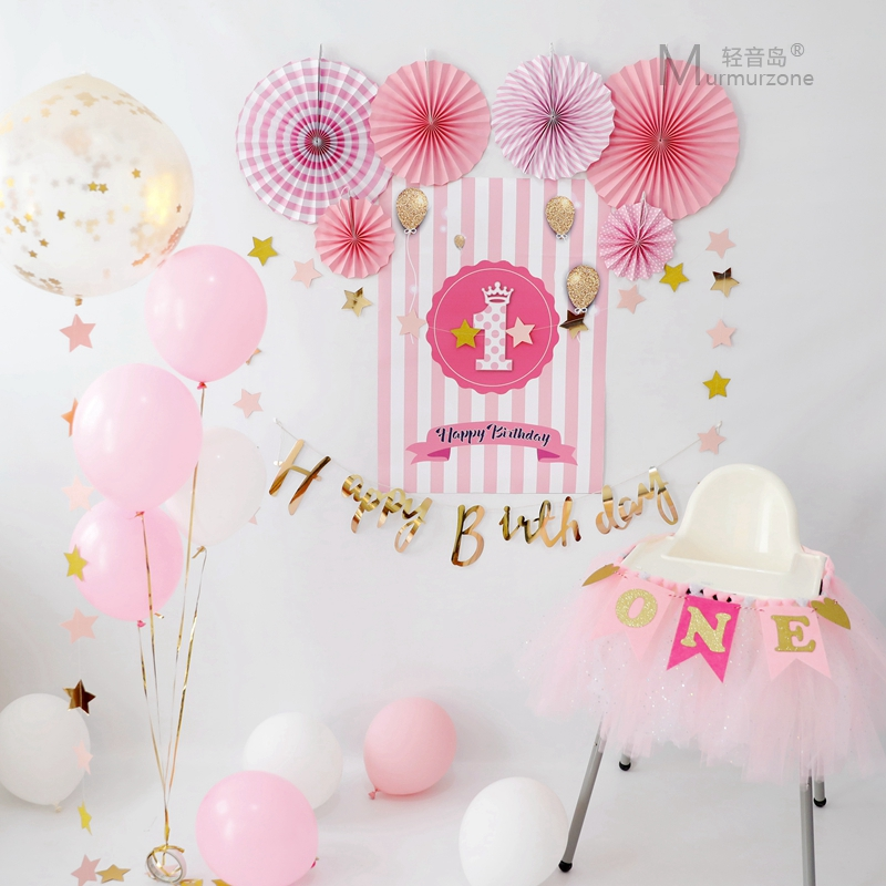 Color Classification Blue 1 Year Old Set Pink Piece Birthday Gold One Paper Fan 36 Inch Transparent