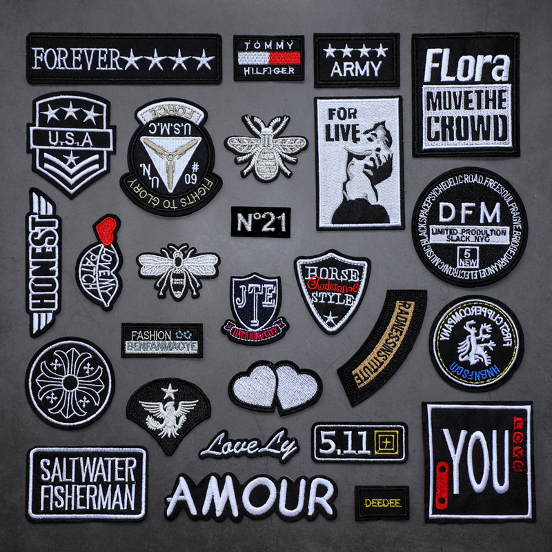 Set badge embroidery patch sticker paste down jacket clothes jeans bag DIY decoration repair hole patch cloth