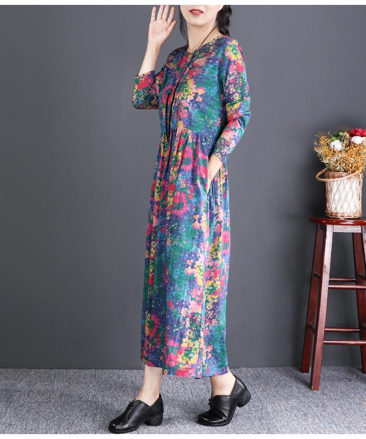 自然小铺民族风女装长袖印花棉麻洋装宽鬆中长版秋装新款详细照片
