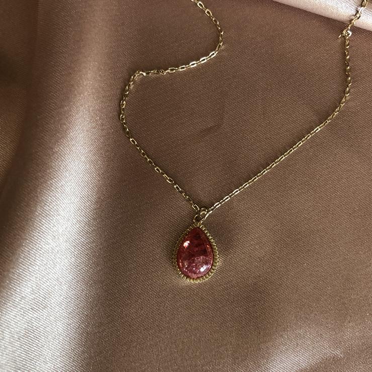 限时85折新年v项链通透红宝石法式复古a项链项链气质925银通体