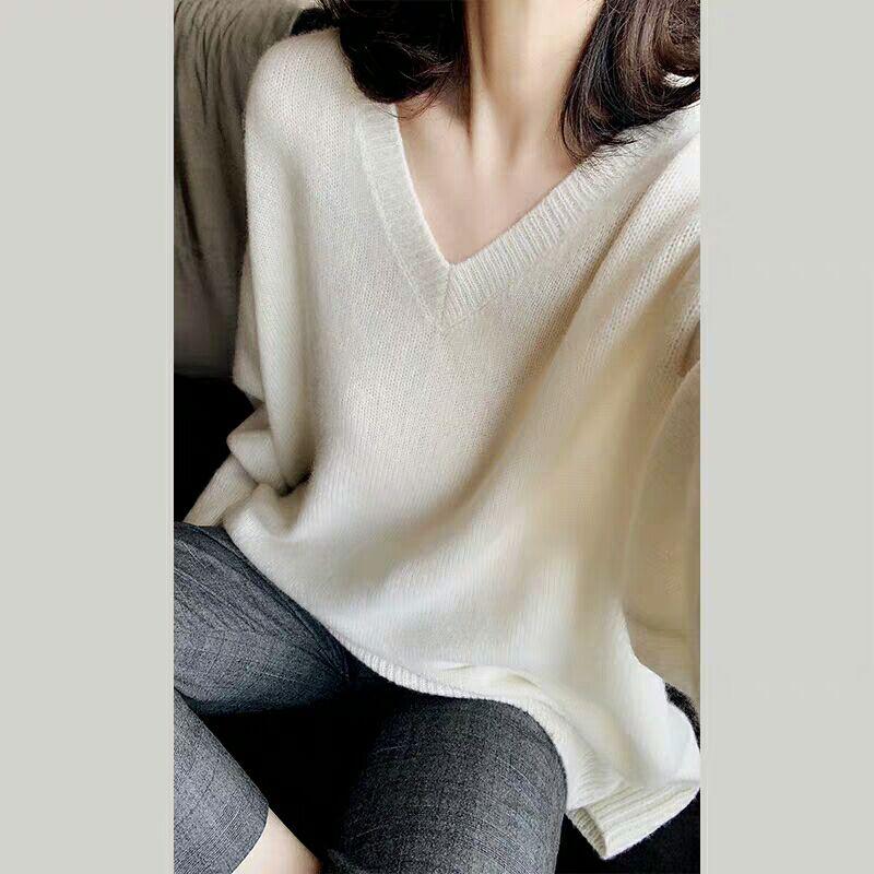 新款羊绒衫女慵懒随性显瘦廓型V领时尚宽松套头中长款针织衫毛衣